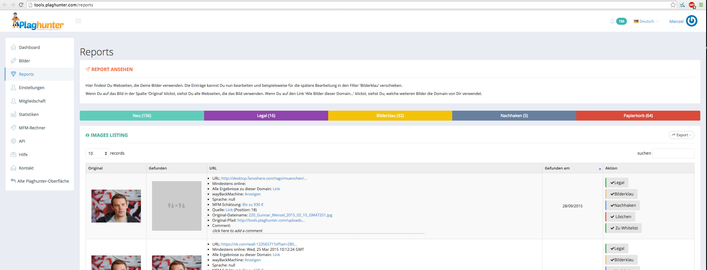screenshot plaghunter blidsuche bildklau